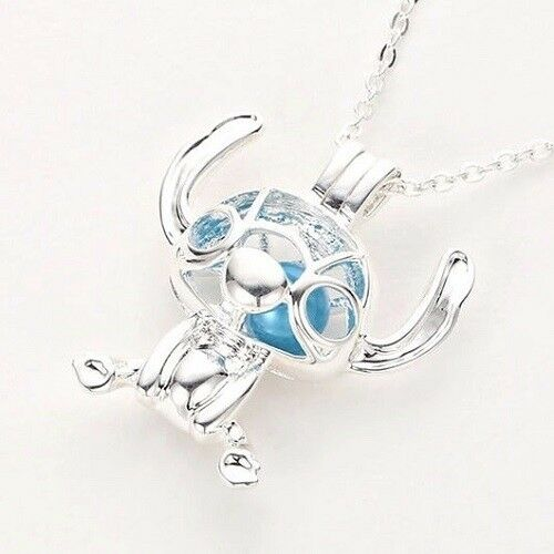 NEW Disney Stitch Silver Plated Blue Pearl Beads Cage Necklace