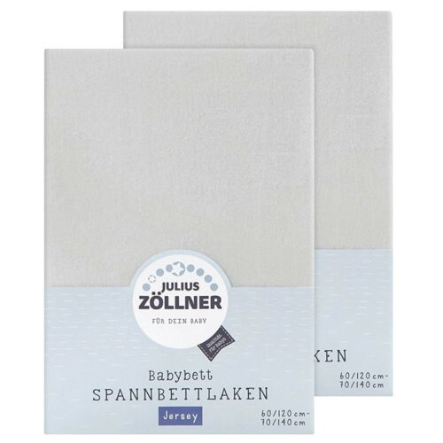 Julius Zöllner Spannbetttuch Jersey 70x140 60x120 hellgrau doppelpack