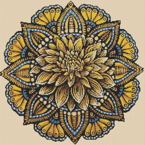 cross stitch chart Colourful Fractal Mandala 420ff   FlowerPower37-uk