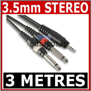 HIGH-QUALITY-3-5mm-Mini-STEREO-Jack-to-2x-6-35mm-1-4-034-MONO-Male-Plugs-Cable-3m