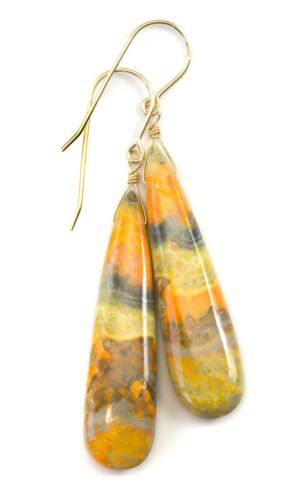 Bumble Bee Jasper Boucles d/'oreilles longues larmes naturel jaune or 14k Sterling 2 in environ 5.08 cm