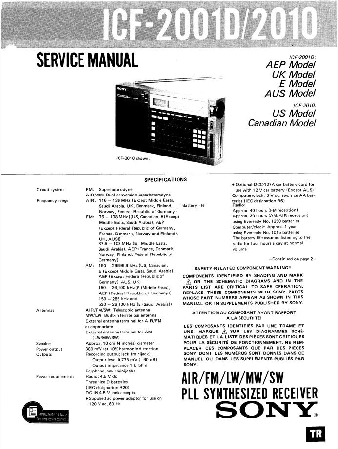 Sony Icf 2001d Icf 2010 Service Manual Cheapest Price