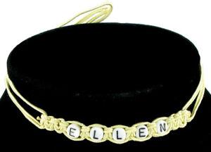 "Ellen Name Jewelry Necklace Macrame Yellow Hand Made Vintage Laguna 23"""