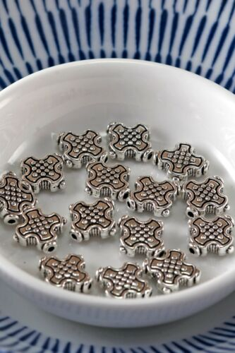 Silver Tone 12mm x 12mm Cross Alloy Spacer Accent Beads Lot of 10 Pieces