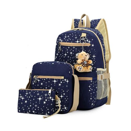 Schulrucksack Mädchen Canvas Rucksack Damentasche Schulranzen Schultasche 3pcs