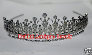 Considerate 11.61ct Rose Cut Diamond Antique Victorian Look 925 Silver Tiara Bridal & Wedding Party Jewelry