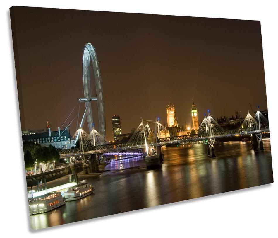 Horizonte de la ciudad Single London Eye Eye Eye Marrón Lona Parojo Arte Cuadro Enmarcado 01d3fe
