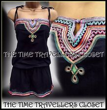 Kate Moss TopShop Rare Ethnic Black Multi Embroidered Festival Playsuit UK 8 10