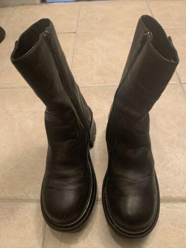 Skechers Black Leather Platform Snow Boots Sz 8 M