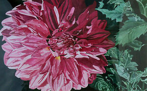 Rita-Thornton-Signed-Original-Watercolor-Painting-large-pink-flower-dahlia-OBO