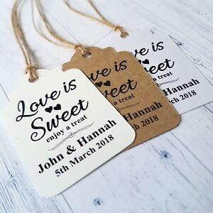 Love Is Sweet Enjoy A Treat Heart Shaped Personalised Wedding Favour Gift Tags