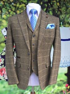 MEN-039-S-3-PIECE-TAN-BROWN-CHECK-TWEED-JACKET-WAISTCOAT-TROUSERS-SOLD-SEPARATELY