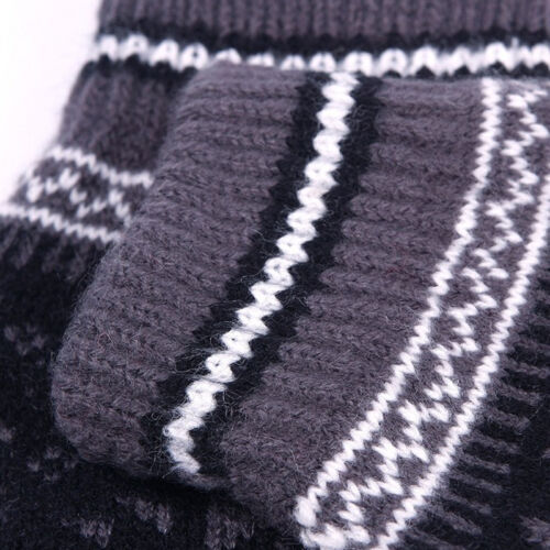 Ladies Mens  Screen Smart Knitted Gloves Fairisle Snowflake Design Warm
