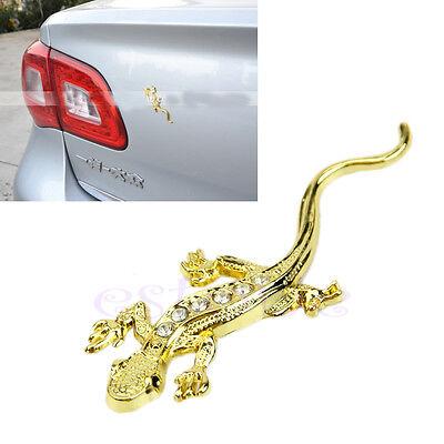 3D Car Auto Truck Gecko House Lizard Emblem Badge Decal Sticker Golden Decor