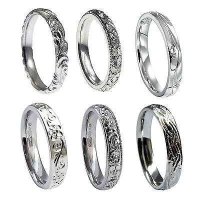 ZuverläSsig 4mm Hand Engraved Wedding Rings Court Comfort Profile 950 Platinum Bands I-r Hm GroßEr Ausverkauf