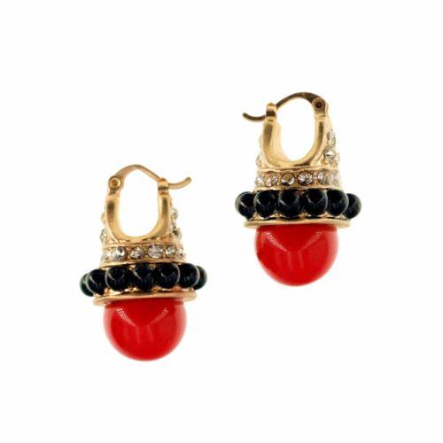 Boucles d/'Oreilles Dormeuse Doré Mini Perle Noir Rouge Retro Vintage Class QD1