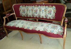 Image Is Loading Antique French Needlepoint Louis Xv Style Settee Sofa