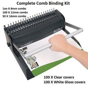 Premium Comb Binding Machine kit set  250 X Binding combs & 200 X Binder Covers 8438567029202