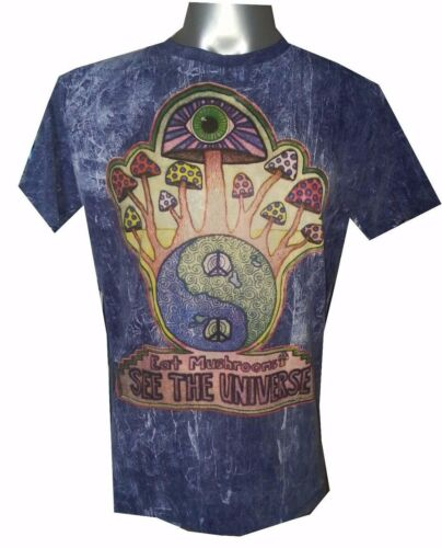 Men T Shirt short sleeve blue mushroom ying yang hippie om Hobo boho M NO TIME