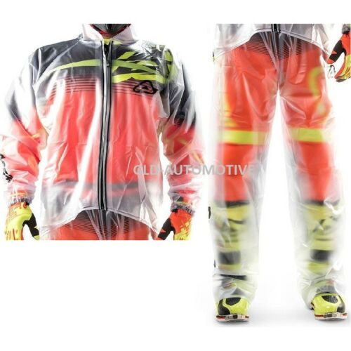 NUOVO Completo Impermeabile TRASPARENTE Clear rain 3.0 jacket Tuta MOTO ACERBIS