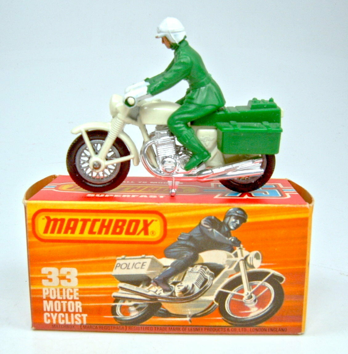 Matchbox No.33 Police Motorcycle green CREAM  Polizei   rare version mint boxed