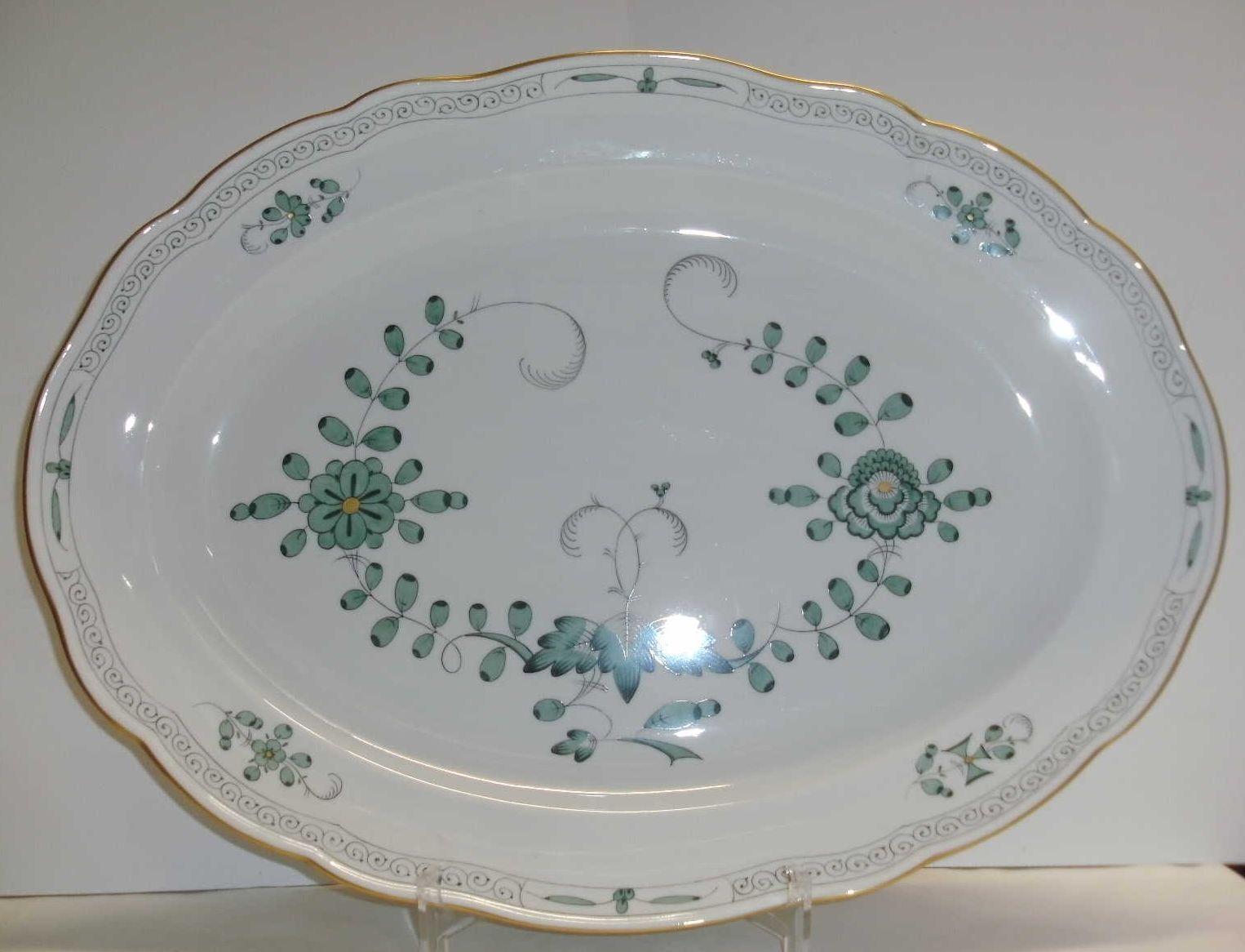 Meissen Indische Malerei grün leicht Platte oval 340310 00309 II Wahl  | Ausgezeichnetes Preis