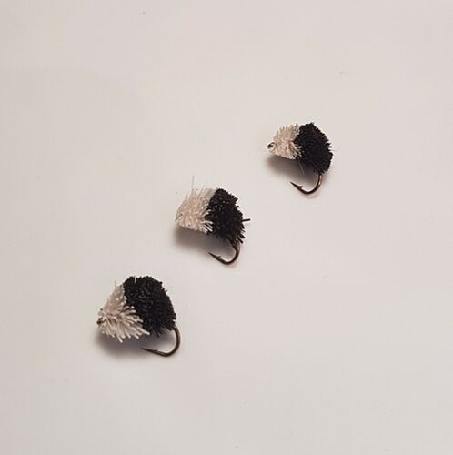 3  Black /& White Dog Biscuits Trout Flies Carp D210