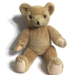 Vintage-Bear-Plush-Jointed-Articulated-Sitting-Brown-Tan-Honey-18-034-Clean-Lovable