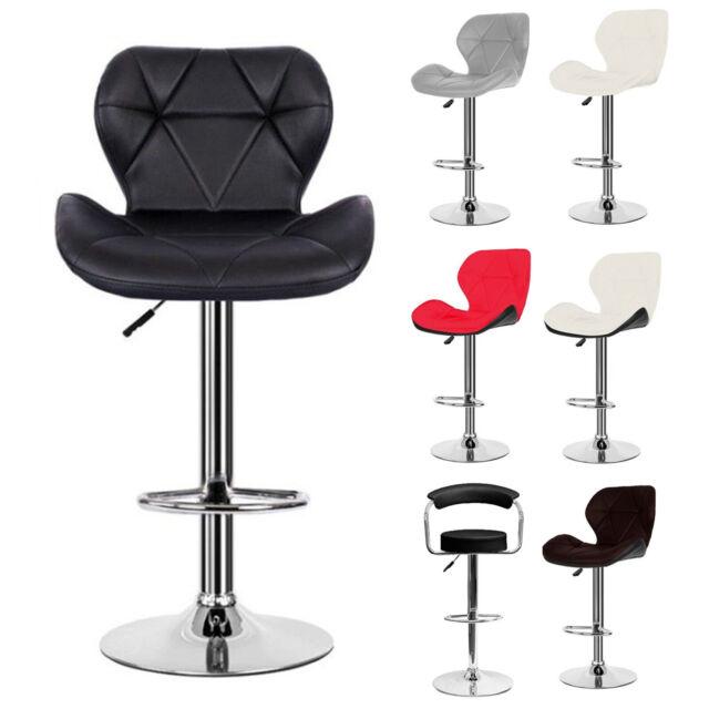 Awe Inspiring Set Of 2 4 Leather Bar Stool Swivel Cushion Seat Pub Chair Gas Lift Chrome Base Short Links Chair Design For Home Short Linksinfo