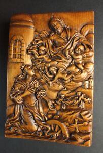 antikes-Holzrelief-HEILIGE-KATHARINA-mit-Jesus-amp-Engerl-Muehlrad-amp-Schwert