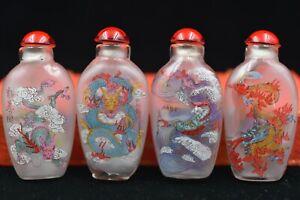 "4pc Chinese folk Inside painting ""Four Seasons Hok"" glass snuff bottle"