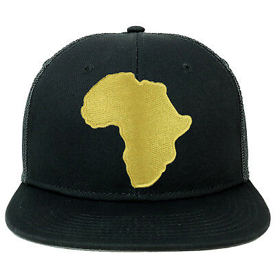 Solid Black Africa Map Embroidered Iron on Patch Camo Snapback Mesh Cap