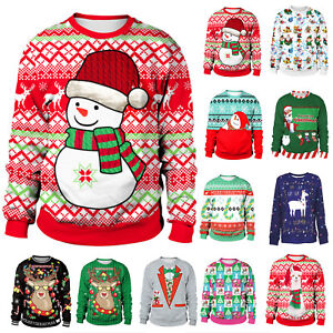 Mens Womens Ugly Christmas Sweater Xmas Knitted Pullover Sweatshirt Jumper Tops