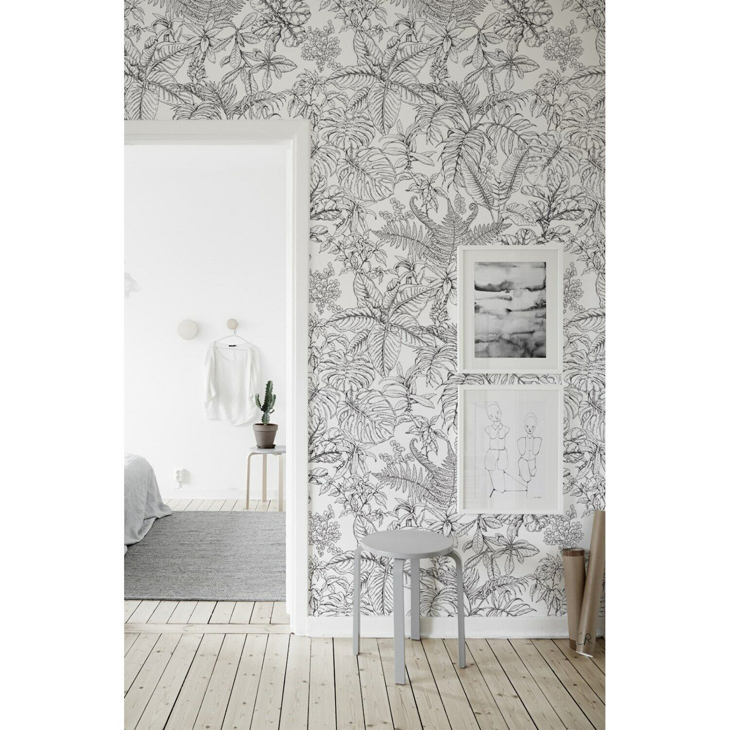 Hand drawn tropical forest Non-Woven Wallpaper roll wall Home Mural Traditional