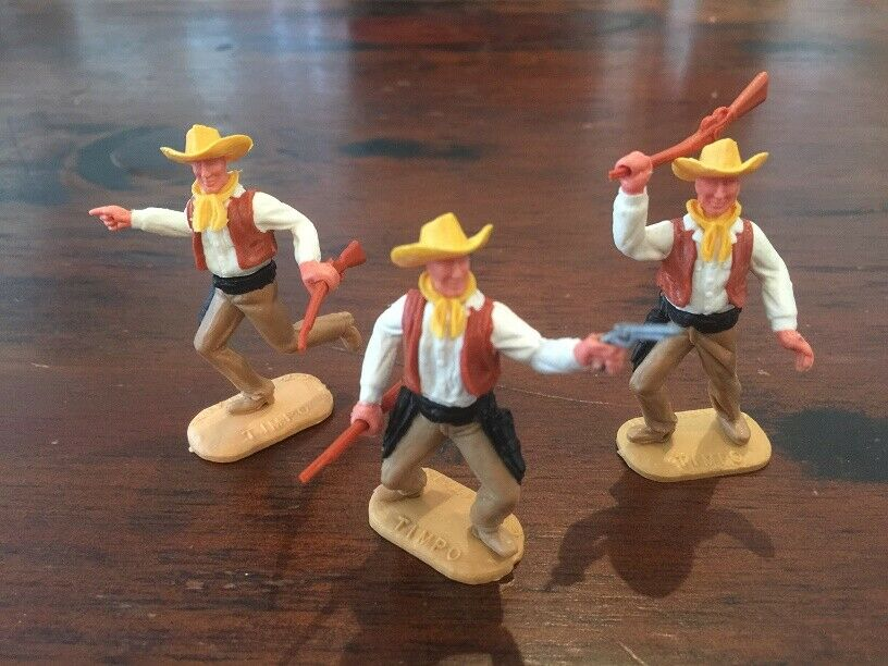 Timpo 2nd Series Cowboys x 3 - Brown White - Wild 1960 70's West