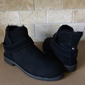 978f92234c3 Details about UGG Mckay Black Suede Sheepskin Ankle Boots Booties Size US  10.5 Womens