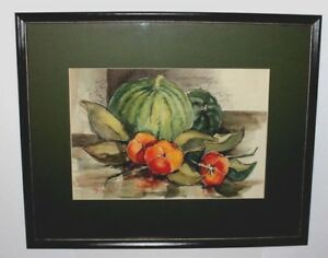 Art-Original-Watercolor-By-Listed-Artist-Christy-Monk-Harvest-Scene-Signed