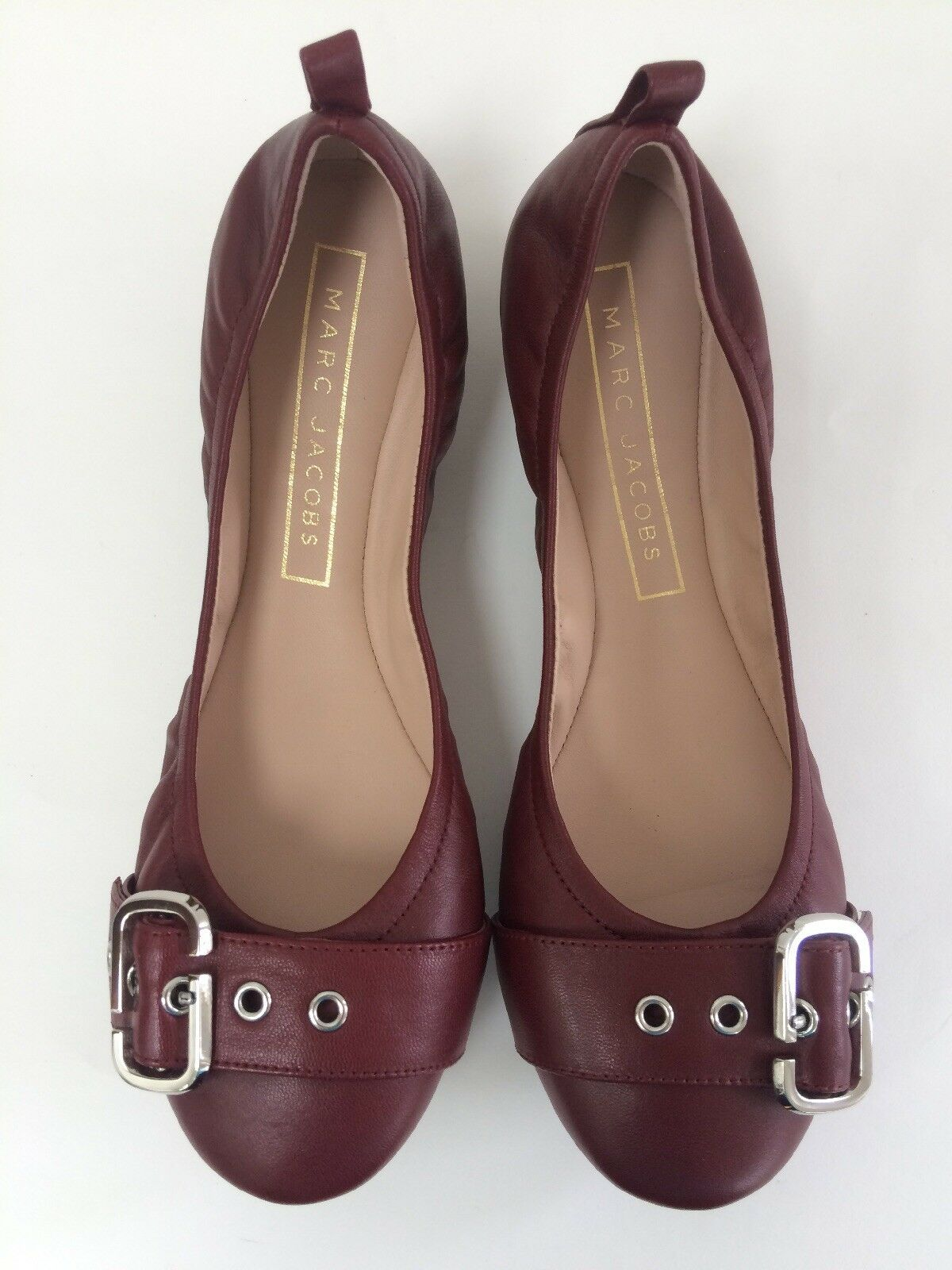 Marc Jacobs Dolly Leather Buckled Ballerina Flat 36.5 US 6.5 Bordeaux