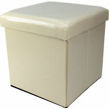Cream Folding Storage Box Faux Leather Cover Home Bedroom Office Storage Tidy