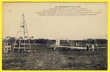 cpa L' AÉROPLANE WRIGHT et son PYLÔNE de LANCEMENT airplane and tower launch