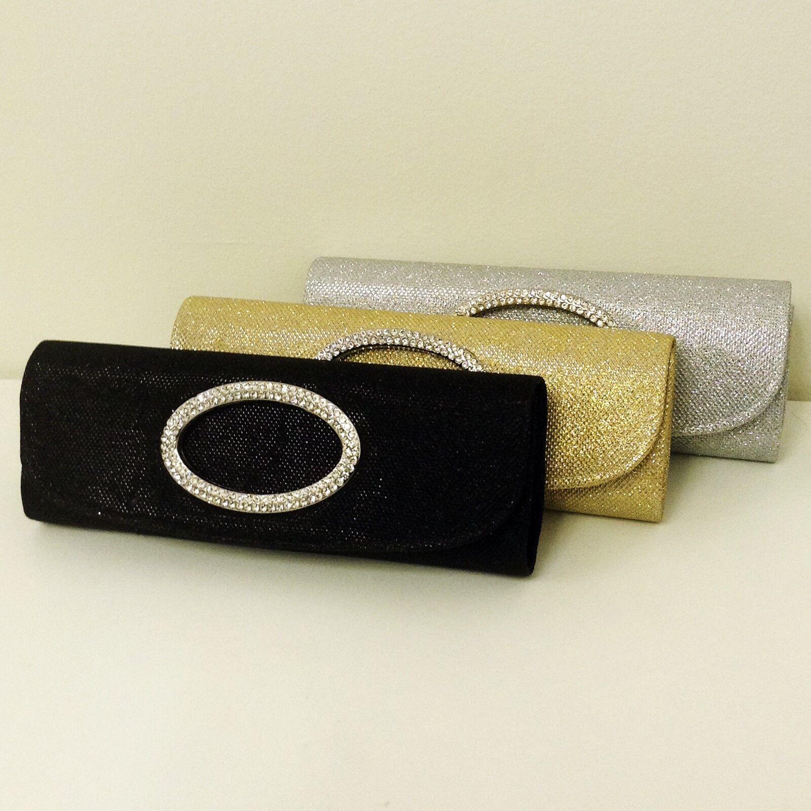 Evening Bag Clutch Chain Glitter Shimmer Rhinestone Wedding Party Club Hand Bag