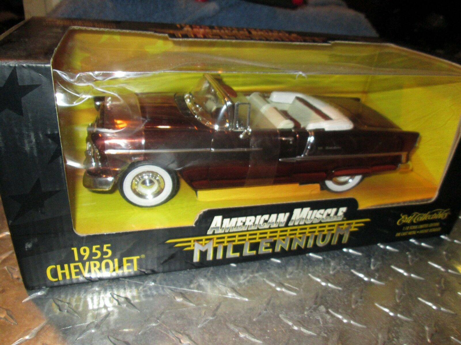 55 CHEVROLET BELAIR Convertible Millenium AMERICAN MUSCLE 1 18 Cuivre Chrome Chase
