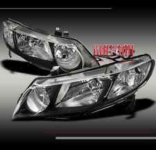 06-11 HONDA CIVIC SEDAN 4DR CRYSTAL JDM BLACK HEADLIGHT 07 08 09 10 NEW PAIR SET