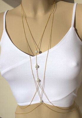 Hot Fashion Charm Sexy Body Chain Double Layer Pearl Golden Waist Chain Necklace