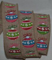 Wired Ribbonchristmas Sparkle Ornament1.5rustic Woven Tanholidaywreathbow