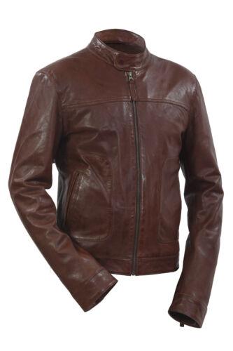 Infinity Men/'s New Brown Retro Biker Lambskin Leather Slim Fit Jacket