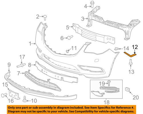 Buick GM OEM 13-16 Enclave Front Bumper-Side Retainer Bracket Right 20986162