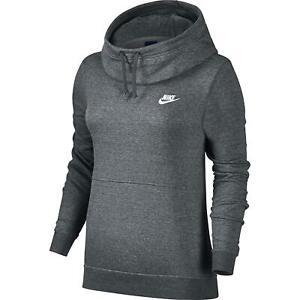 NIKE Women's $50 Funnel Neck Fleece Pullover Hoodie Sweatshirt 853928-071 XS-S