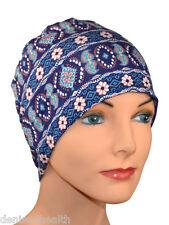 Navy blue denim print, Chemo Cap, Hat Cancer Hat, Beanie, Spring, Comfy, Sleep,