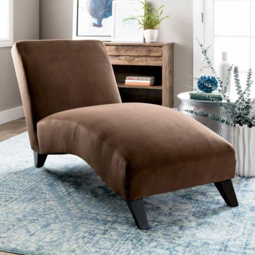 Bella Contemporary Micro Velvet Fabric Chaise Lounge Chair Dark Brown  Lounger